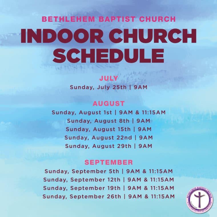 BBC Indoor Church Service Schedule